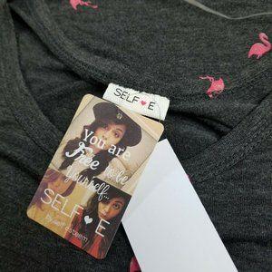 Self Esteem Tops - Self Esteem Charcoal Gray Tee Flamingo Pocket Top